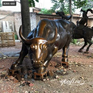 Life-size Bronze Wall Street Bull Statue Decor for Sale BOKK-660