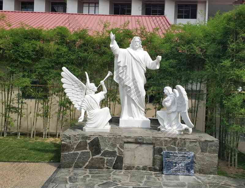 famous-marble-jesus-statue-with-angels-design-for-church-from-Singapore-for-sale