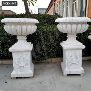 Modern Outdoor White Marble Flower Pot with Pedestal Supplier MOKK-447