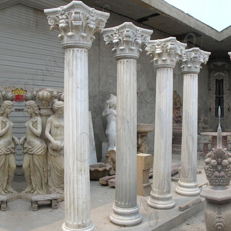 White Marble Corinthian Order Ancient Greek Exterior Porch Columns Round Fluted for Sale MOKK-150_副本