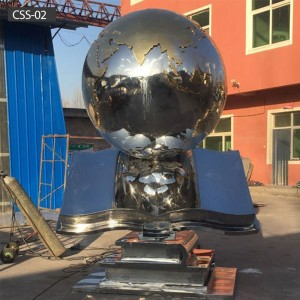 Globe Sculpture Metal Stainless Steel Globe Sculpture CSS-02