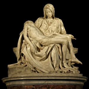 Marble religious sculpture of the Pietà by Michelangelo