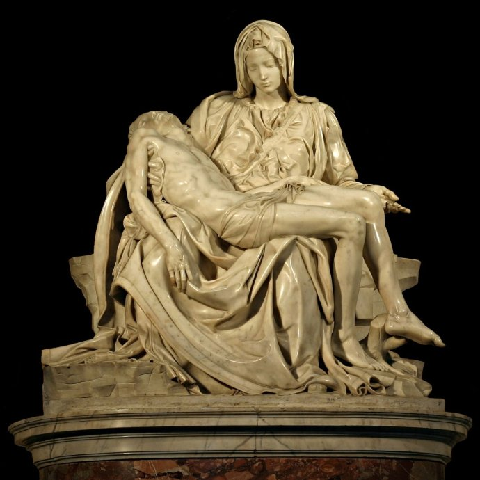 Marble religious sculpture of the Pietà by Michelangelo Featured Image