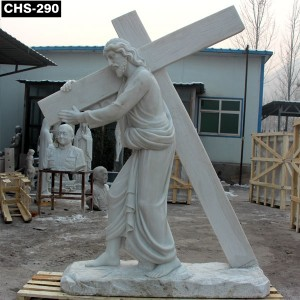 Catholic Garden Marble Jesus Carrying Cross Statue CHS-290