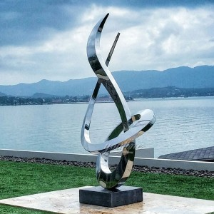 Popular modern style outdoor garden mirror polished stainless steel sculpture CSS-14