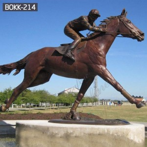 Hot Selling Cast Bronze Racing Horse Statue with Jockey Design Supplier BOKK-214