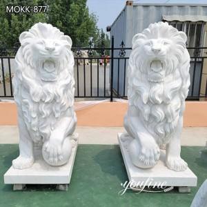 Natural White Marble Lion Statue Outdoor Decor for Sale MOKK-877