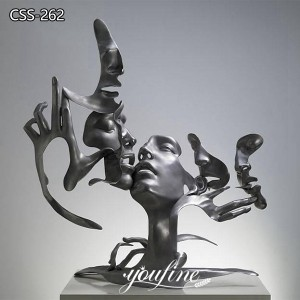 Hotel Abstract Metal Face Sculpture Unmask Group for Sale CSS-262