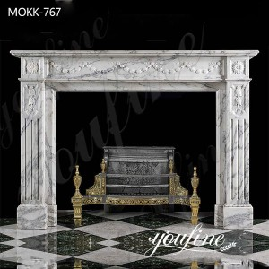 Hand Carved Marble Fireplace Mantel Surround House Decor for Sale MOKK-767