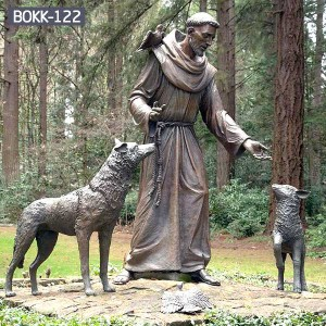 Buy Religious Bronze St. Francis Statue for Church Decoration Factory Price BOKK-122