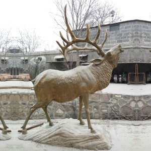 Beautiful handmade bronze reindeer statue outdoor