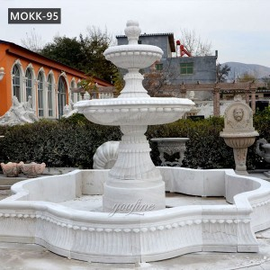 Outdoor Two Tiered White Marble Water Fountain for Front Yard Factory Supply MOKK-95