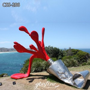 Seaside Beach Painted Metal Sculpture Toothpaste Design for Sale