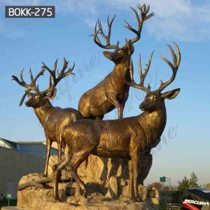 Hot Sale Life Size Bronze Three Deer Statues with Factory Price BOKK-275