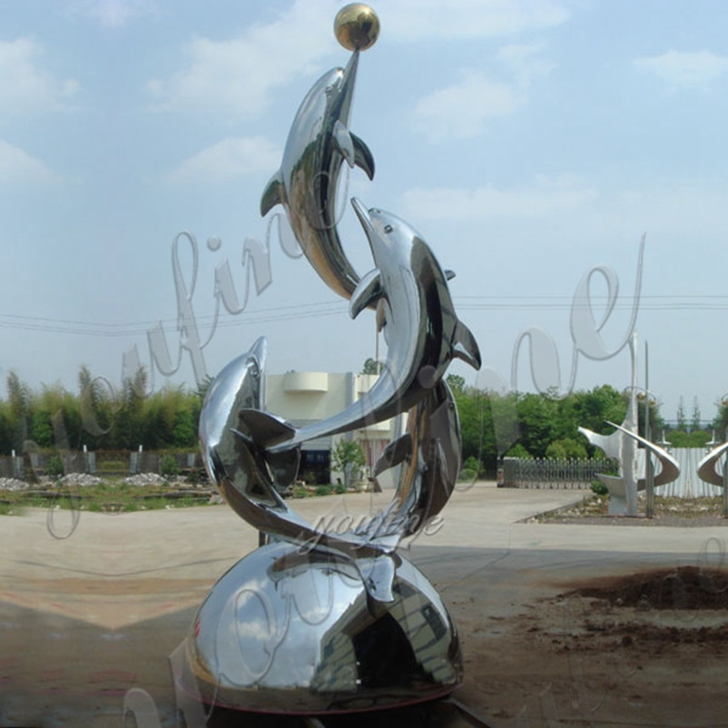 contemporary lawn sculpture outdoor metal dolphin statue Featured Image