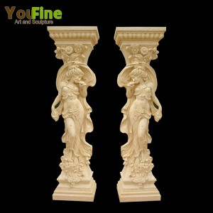 Decorative hand carved marble lady statue column for sale MSC-01