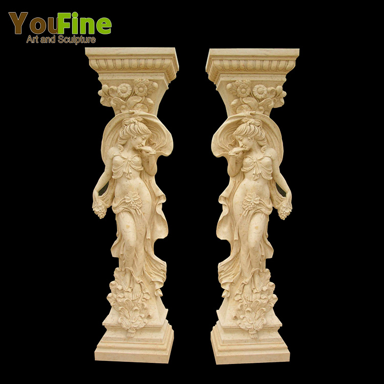 Decorative hand carved marble lady statue column for sale Featured Image