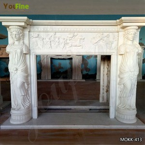 Hand Carved Statuary White Marble Fireplace Surrounds for Sale MOKK-413