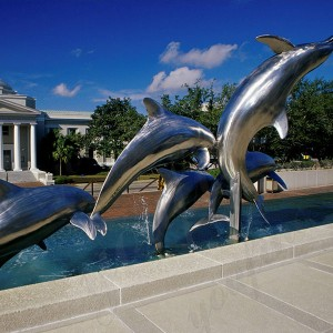 outdoor modern metal sculpture large dolphin statue