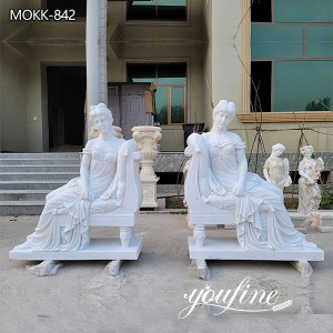 Hand Carved Natural White Marble Sitting Woman Statue on Sale MOKK-842
