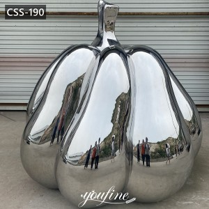 Large Outdoor Mirror Polished Stainless Steel Pumpkin Sculpture Factory Supply CSS-190