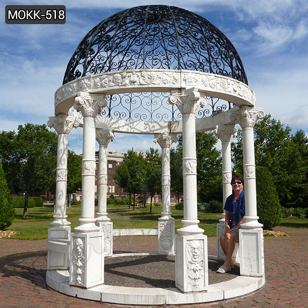 Outdoor Modern marble gazebo with Iron Dome for sale MOKK-518 Featured Image