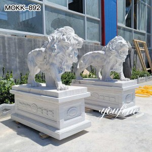 Hand Carved Marble Lion Statue Outside House Decor Factory Supply MOKK-892