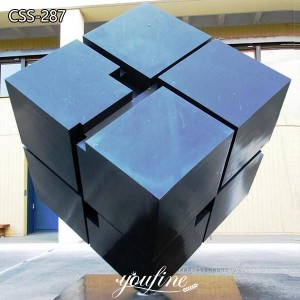 Large Brush Metal Cube Sculpture for Garden Campus CSS-287