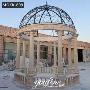 Hand Carved Beige Marble Gazebo with Iron Top for Sale MOKK-609