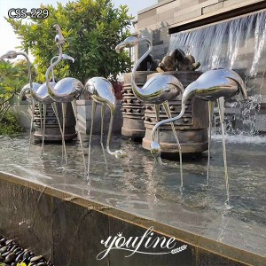 Garden Decorative Modern Stainless Steel Crane Sculptures Lawn Ornaments for Sale CSS-229