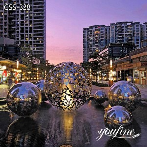 Outdoor Lighting Stainless Steel Hollow Ball Sculpture Square Decor for Sale CSS-328