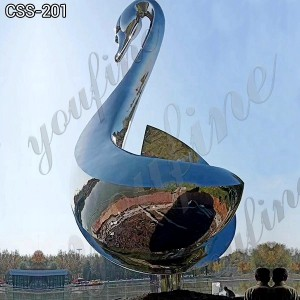 Large Metal Goose Statue Mirror Stainless Steel Animal Sculpture Decor for Sale CSS-201