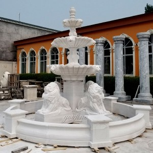 Garden 3 tier Outdoor White Marble Lion Water Fountain Garden Decor for Sale MOKK-102
