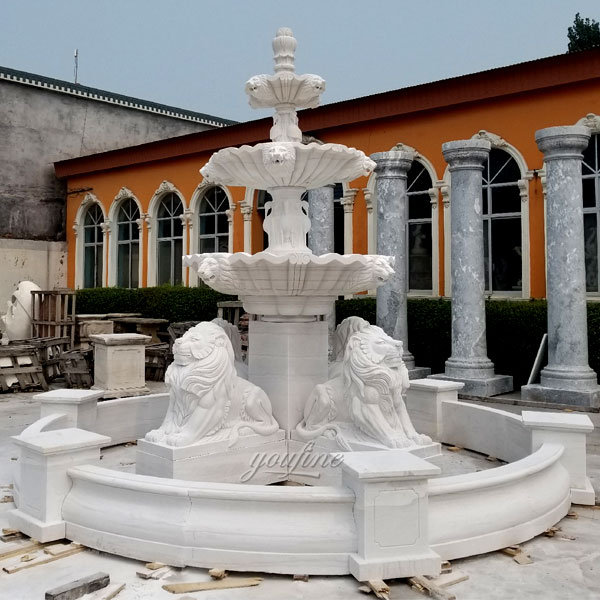Garden 3 tier outdoor beige marble water stone fountain for sale MOKK-102 Featured Image