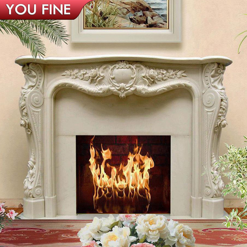 Hand carved natural stone fireplace mantel for home decoration Featured Image