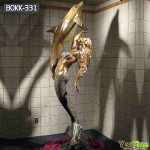 Large Size Bronze Mermaid Statue with a Dolphin Sculpture for Garden Decor BOKK-331