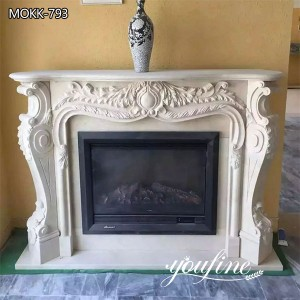 Hand Carved French White Marble Fireplace from Factory Supply MOKK-793