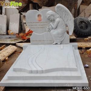 High Quality White Marble Angel Memorials Headstone Supplier MOKK-650