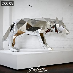 Modern Geometric Metal Mirror Wolf Sculpture for SaleCSS-53