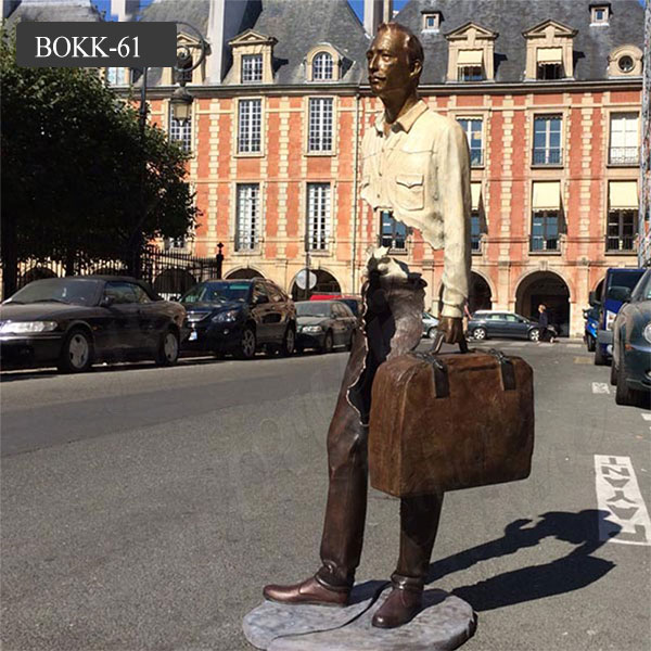 Famous abstract human bronze statue bruno catalano sculpture with bag for sale BOKK-61 Featured Image