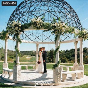 Beautiful Marble Wedding Gazebo Decorations with Iron Dome for Sale MOKK-454