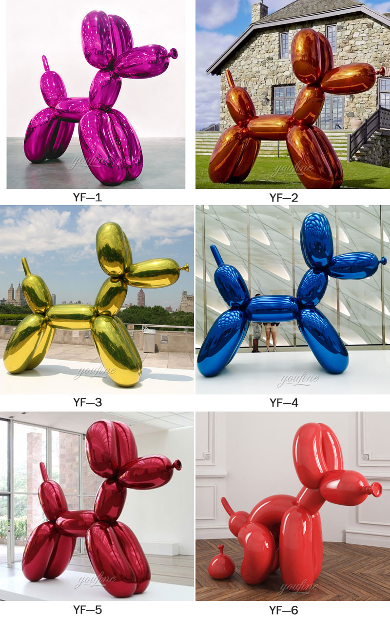 modern famous metallic balloon animals jeff koons balloon dog colorful design for sale