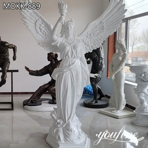 Natural White Marble Angel Statue Holding the Torch Factory Supply MOKK-889