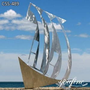 Large Metal Sailboat Sculpture Modern Abstract Art for Sale CSS-489