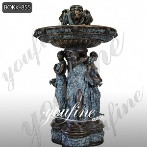 Large Antique Bronze Lion Heads Ladies Fountain for Sale BOKK-855