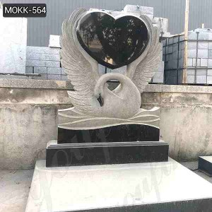 Hand Carved Customized Marble Swan Headstone with Factory Price MOKK-564