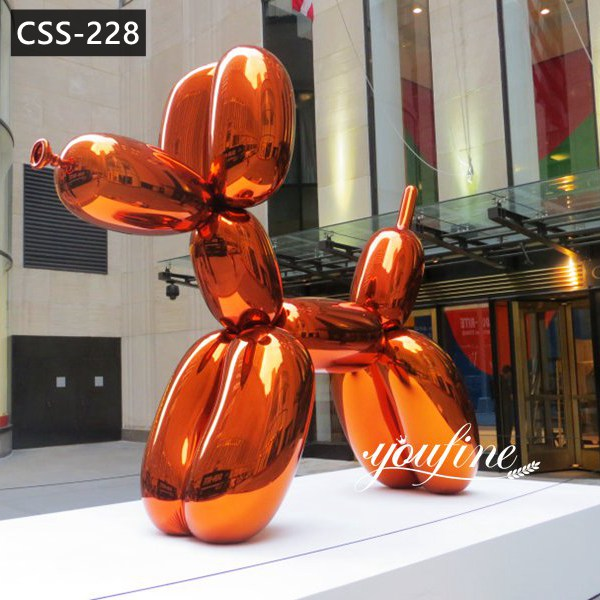 Mirror Polished Stainless Steel Jeff Koons Orange Balloon Dog for Sale CSS-228 Featured Image