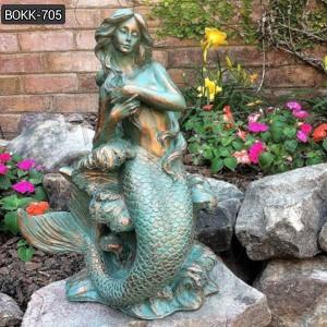Life Size Sitting Bronze Mermaid Statue for Garden Decor Wholesale BOKK-706