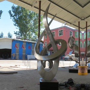 Outdoor decor stainless steel large abstract metal sculpture