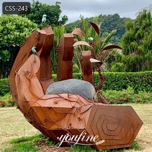 Large Abstract Metal Art Corten Steel Hand Sculpture for Sale CSS-243